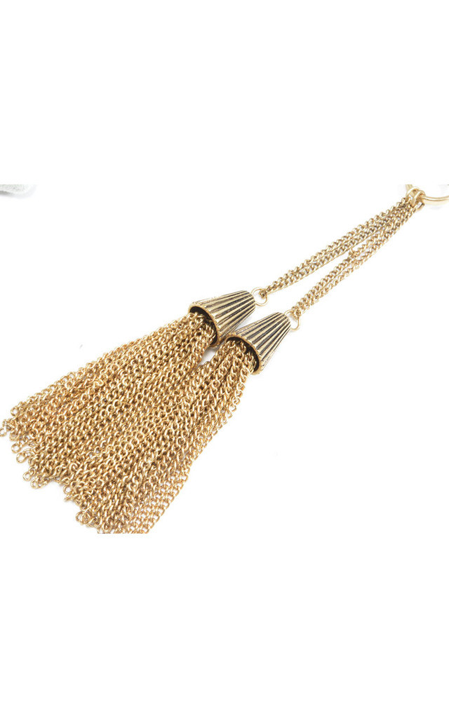 Double Tassel Chunky Necklace in Antique Gold Tone by Silver Rain