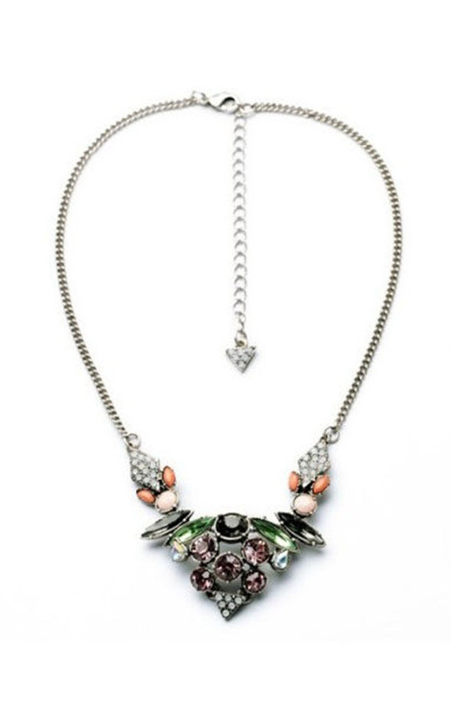 Statement Necklace with Austrian Glass Crystals by Silver Rain