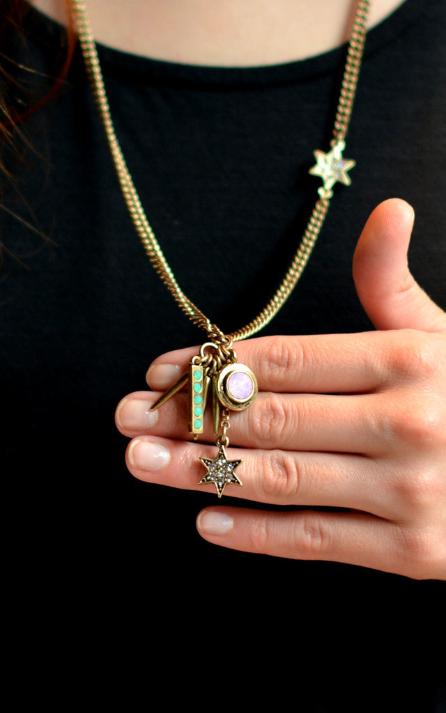 Multiple Star Necklace in Antique Gold by Silver Rain