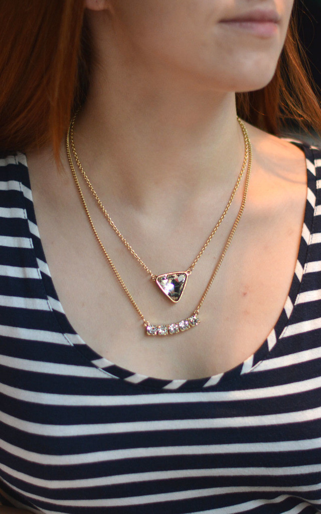 Triangle and Curved Bar Layer Necklace by Silver Rain