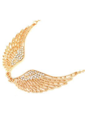 Angel Wings Statement Short Necklace in Gold Tone by Silver Rain