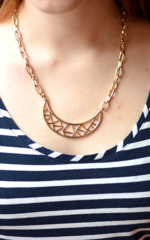 Cut Out Pattern Crescent Moon Geometric Necklace by Silver Rain