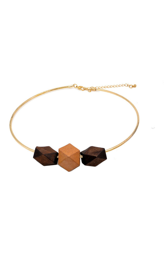 Statement Geometric Wooden Beads Neck Cuff by Silver Rain
