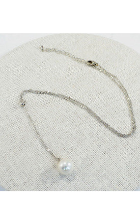 Pearl Lariat Necklace Rhodium Plated by Silver Rain