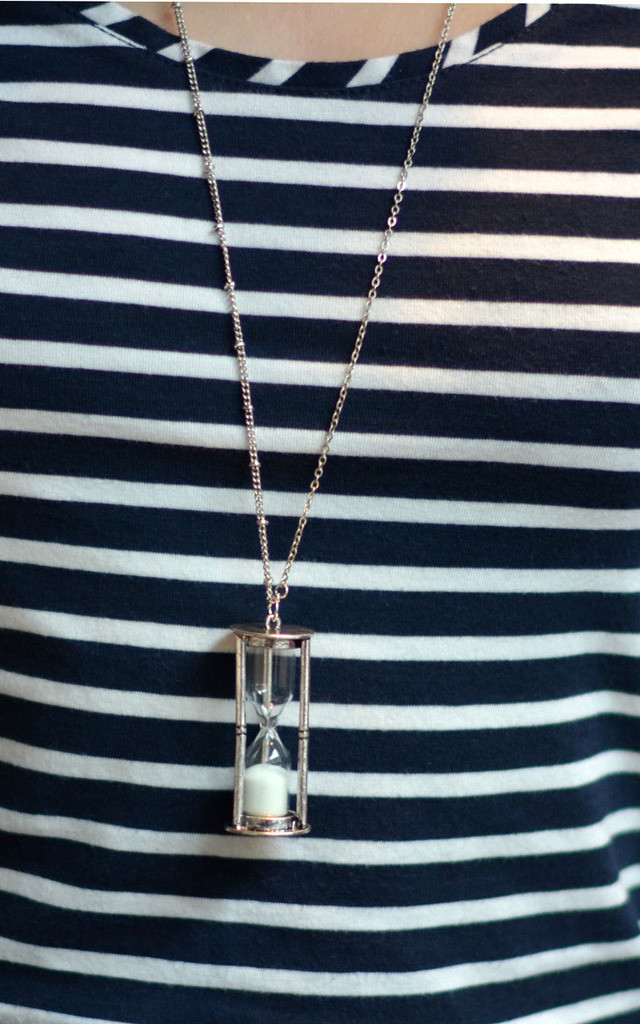 Antique Silver Hourglass Necklace by Silver Rain