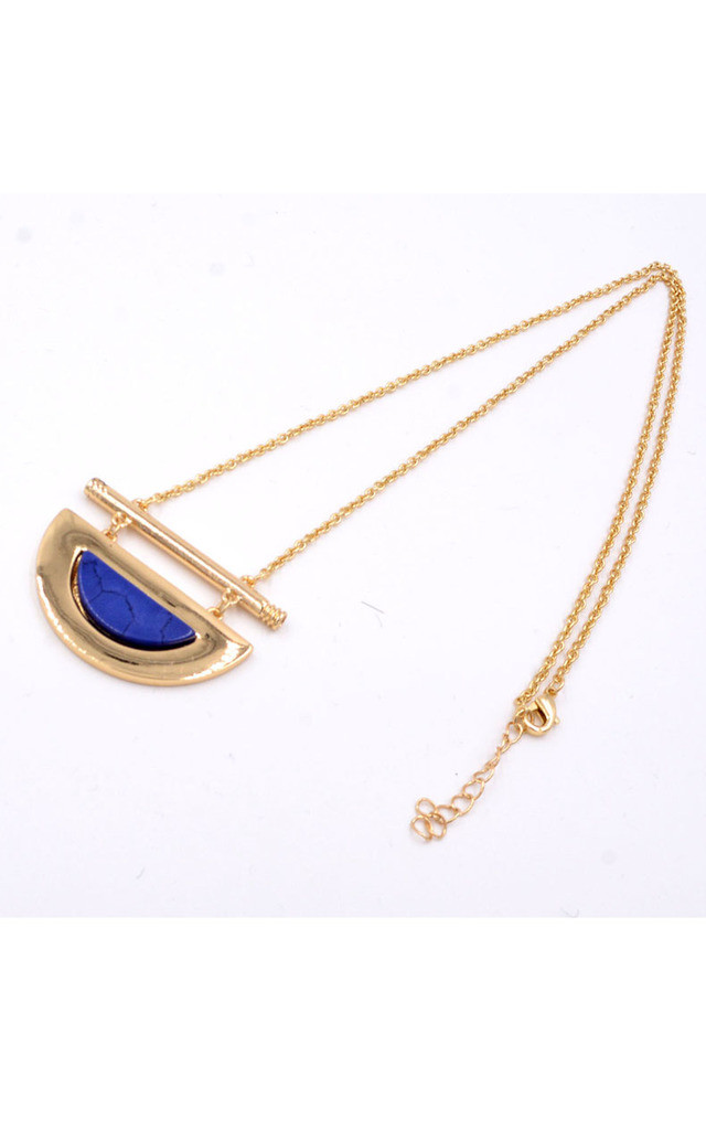 Half Moon Lapis Lazuli Semiprecious Gemstone Necklace by Silver Rain