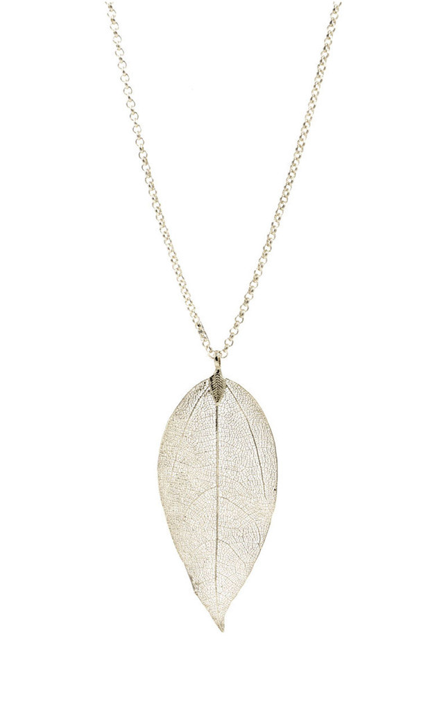 Real Leaf Skeleton Necklace in Silver Tone by Silver Rain