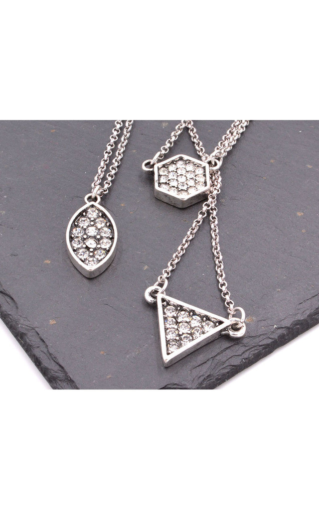 Antique Silver Three Layered Geometric Necklace by Silver Rain