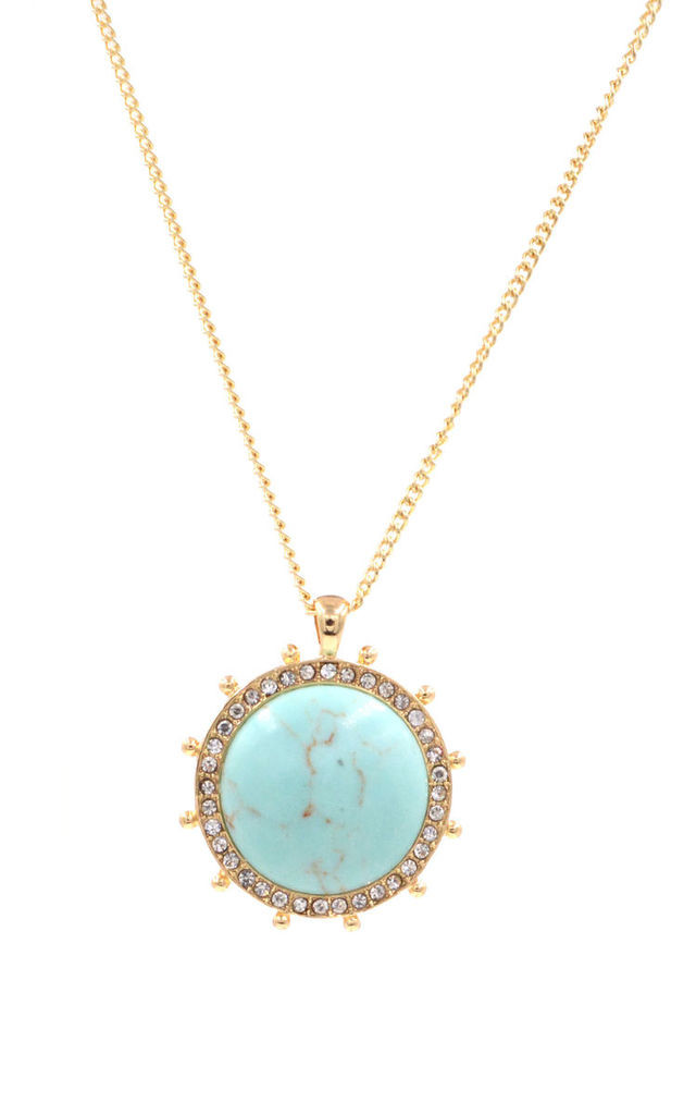 Blue Turquoise Stone Circle Disk Necklace in Gold Tone by Silver Rain