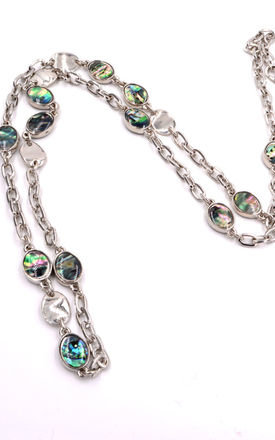 Rhodium Plated Sea Abalone Paua Shell Disk Necklace by Silver Rain