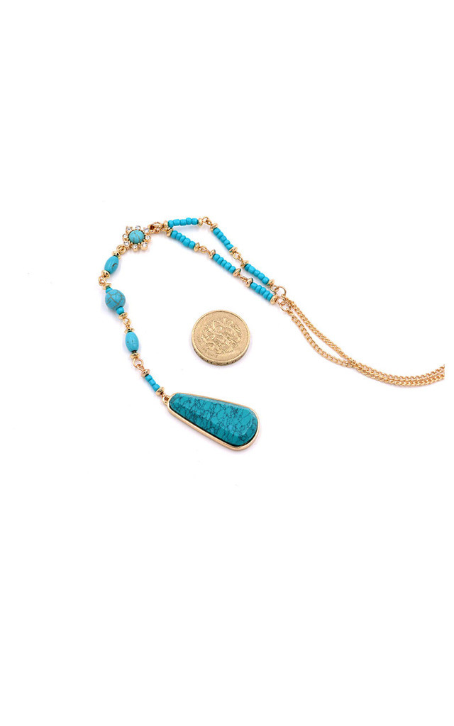 Blue Turquoise Stone Y-Shaped Lariat Style Necklace by Silver Rain
