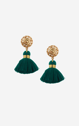 EMMELINE Mini Emerald Tassel Earrings by Rock N Rose