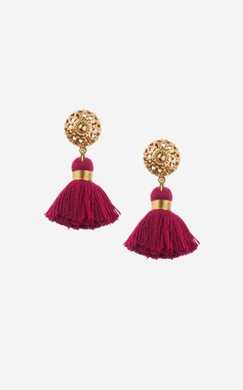 EMMELINE Mini Bordeaux Tassel Earrings by Rock N Rose