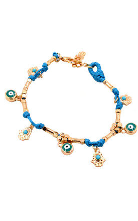 Handmade Bracelet with Hamsa and Evil Eye Charms by Silver Rain