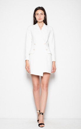 White Elegant dress fastened with buttons by Venaton