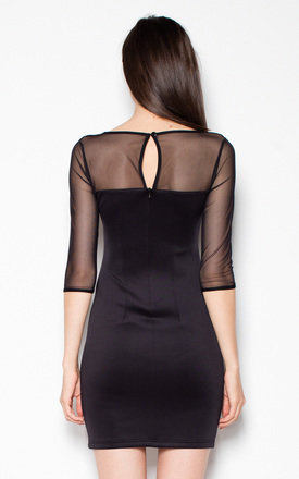 Black Simple dress with mesh by Venaton