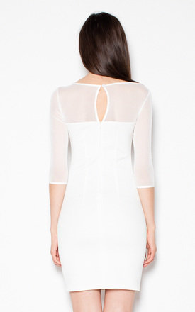 White Simple dress with mesh by Venaton