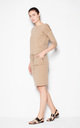 Beige Dress with waist ribbing by Venaton