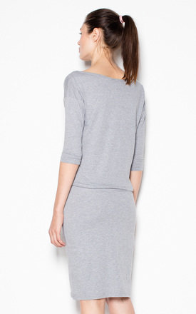 Grey Dress with waist ribbing by Venaton