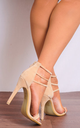Nude Barely There Ankle Strap Strappy Sandals Stilettos High Heels by Shoe Closet