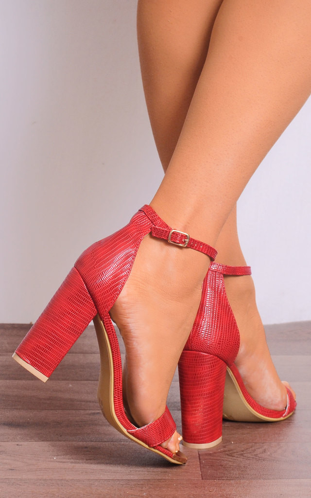 Barely There Strappy Heeled Sandals in Red Lizard Print by Shoe Closet