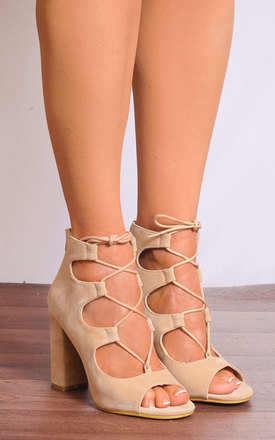 Nude Lace Ups Strappy Sandals Peep Toes High Heels by Shoe Closet