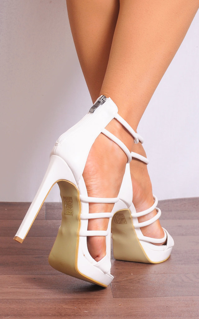 White Barely There Peep Toes Strappy Sandals High Heels by Shoe Closet
