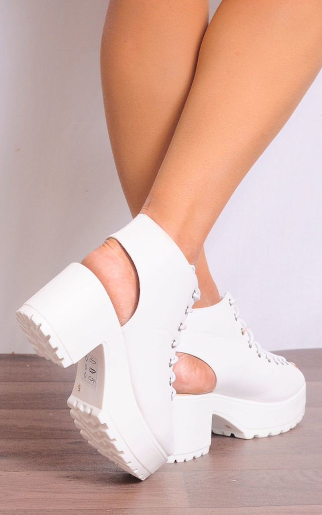 Lace Up Cleated Sandals in White by Shoe Closet