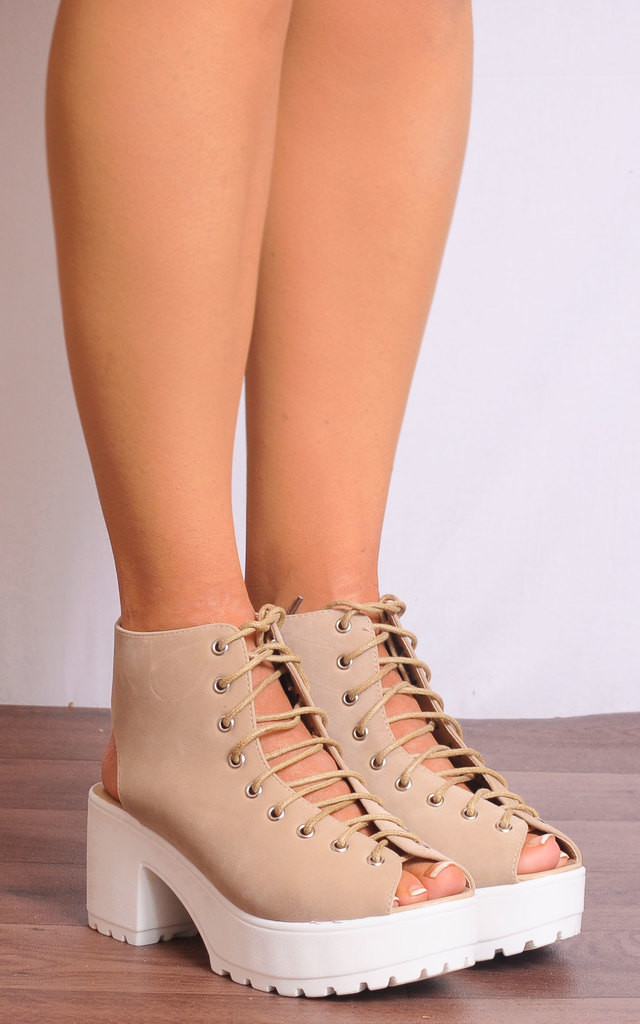 Lace Up Cleated Sandals in Nude by Shoe Closet