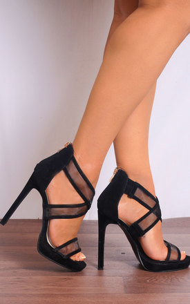 Black High Heels with Mesh Cross Over Straps by Shoe Closet