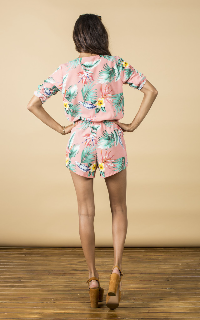 Tiago Playsuit in Pink Tropical by Dancing Leopard
