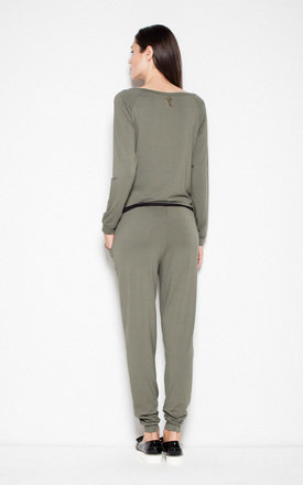 Olive green elegant jumpsuit with pockets by Venaton