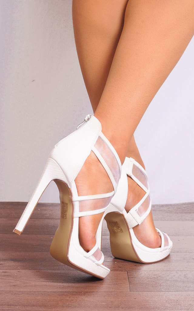 White High Heels with Mesh Cross Over Straps by Shoe Closet