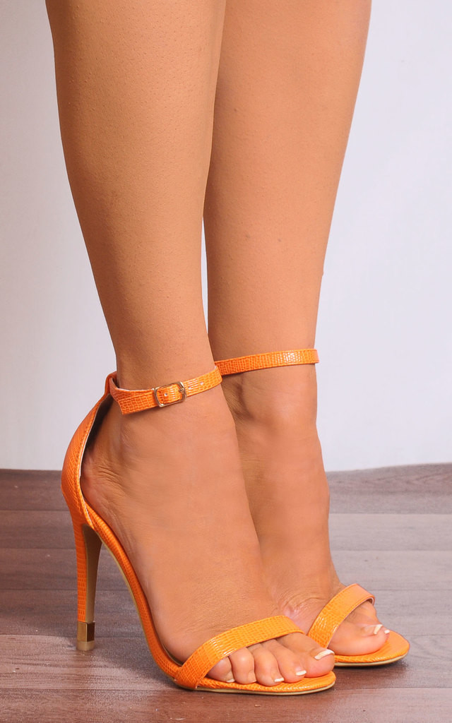Orange Lizard Print Barely There Ankle Strap Strappy Sandals by Shoe Closet