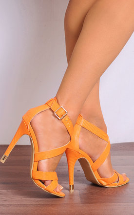 Orange Lizard Strappy Sandals Stilettos High Heels by Shoe Closet