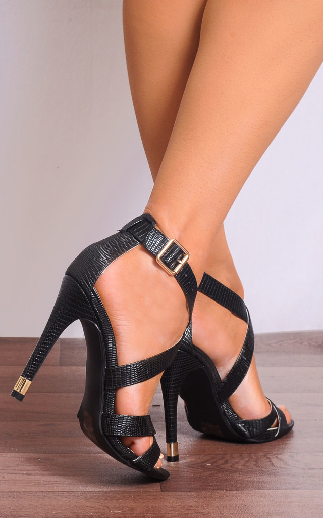 Black Stilettos Platforms Strappy Sandals High Heels by Shoe Closet