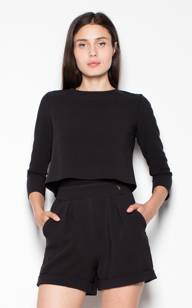 Black playsuit with fastened top by Venaton
