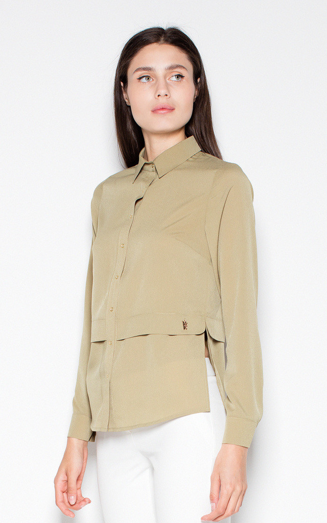 Olive elegant shirt with a collar by Venaton