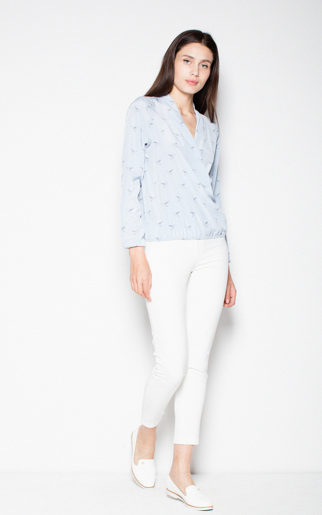 Blue wrap top shirt with bird pattern by Venaton