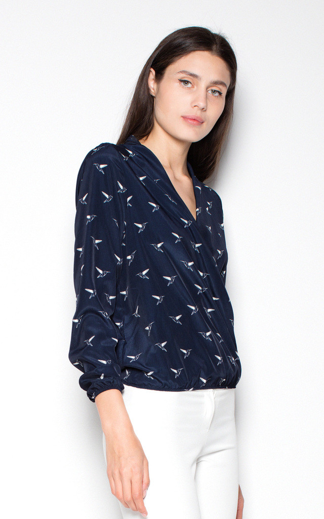 Navy blue wrap top shirt with print bird pattern by Venaton