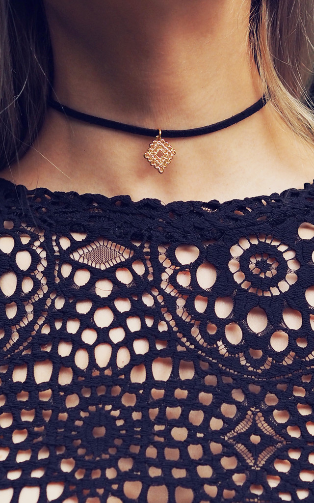IRINA. Gold Filigree Pendant Black Suede Choker by Aluna Mae