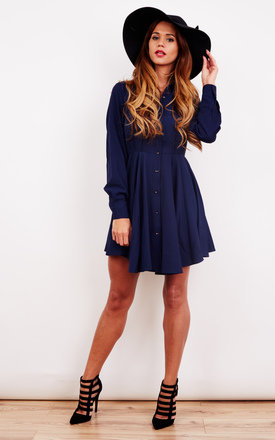 Navy Long Sleeve Skater Shirt Dress by Oeuvre