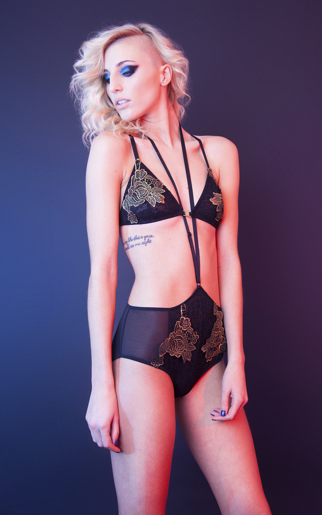 Hope Black Lace Bra with Gold Applique by Playful Promises