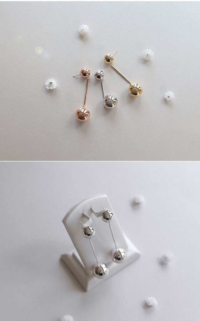 Two Ball Earrings In Gold by DOSE of ROSE