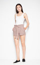 Brown shorts with a high waist and a decorative frill by Venaton