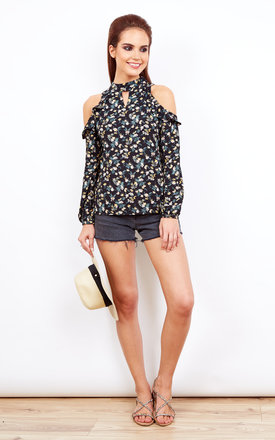 Black Floral Cold Shoulder Top With Frill Detail by Glamorous Product photo