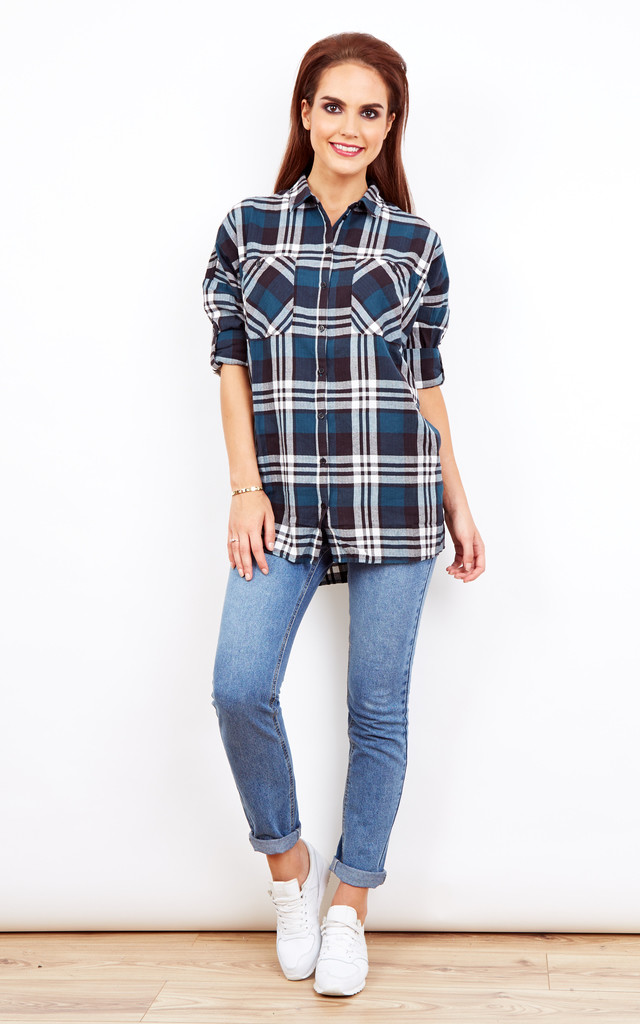 Blue and white checked oversized shirt by Noisy May