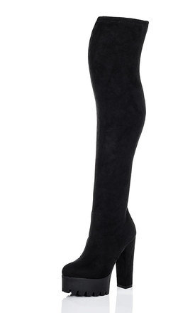 HOBBS Platform Cleated Sole Block Heel Over Knee Tall Boots - Black Suede Style by SpyLoveBuy