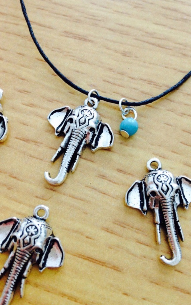 Elephant And Turquoise Bead Choker by Diamond in The Sky