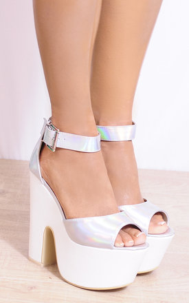 Platform Wedge Heels in White/Silver Holographic by Shoe Closet